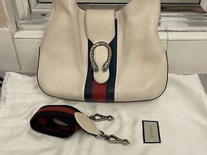 Gucci White Dionysus Leather Blue/Red Web Strap Shoulder, Hobo Bag,446687