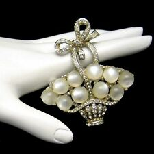 CORO PEGASUS 1941 Vintage Rhinestone Flower Egg Basket Brooch Pin Satin Glass
