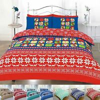 DUVET COVER WITH PILLOW CASE REINDEER CHRISTMAS QUILT BEDDING SET XMAS NOVELTY