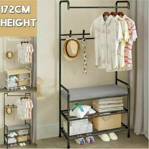 Iron Hat Coat Bag Garment Clothes Shoe Hanger Hooks Rack Stand Shelf Organiser