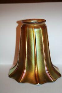 "Antique Quezal Gold Iridescent Lamp Shade 5"" Art Glass Signed!"