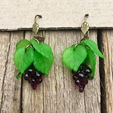 RETRO Lampwork Glass FRUIT EARRINGS Bunch Of Grapes ROCKABILLY 50's Style PINUP