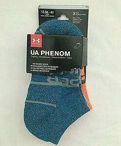 3-Pair Under Armour 1329379-452 Youth 7-9 UA Phenom 13.5K-4Y No Show Sock, NEW