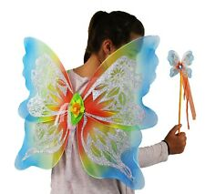 Fairy Wings and Wand Set- Rainbow Colours- Adults or Children Large Size Sparkly