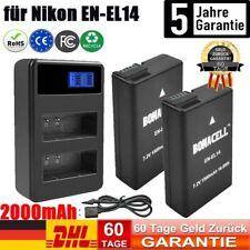 2× 2000mAh EN-EL14 Akku + Dual Ladegerät für Nikon D5100 D5200 D5300 D5500 D3300