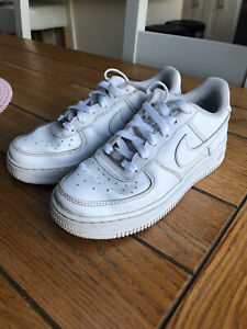 Nike Air Force One Trainers Size 3 AF1 White GUC