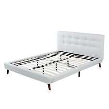 Ivory Linen Low Profile Platform Bed Frame with Tufted Headboard - Full Size
