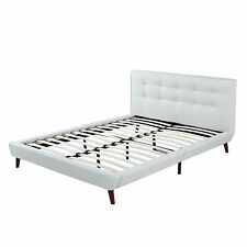 ivory linen low profile platform bed frame with tufted headboard full size
