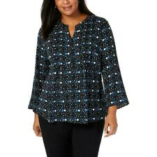 NY Collection Womens Printed V-Neck Shirt Button-Down Top Blouse 2X MSRP$49