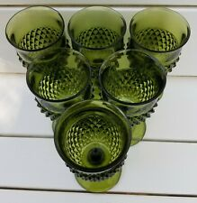 "Vintage Indiana Glass Green Diamond Point Goblets 6.5"" H, (set of 6)"