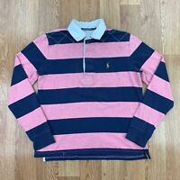 Vintage RALPH LAUREN SPORT Womens Striped Rugby Shirt | Polo Retro | XL Pink