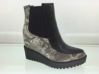 LADIES WOMENS ANKLE HIGH SNAKE LEATHER STYLE WEDGE HEEL PLATFORM BOOTS SIZE 3