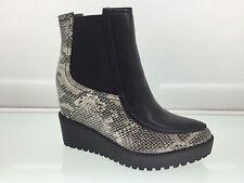 Damas Mujeres Cuero Serpiente Tobillo Alto Botas de plataforma con taco de estilo Talla 7