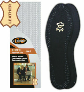Insoles Shoe Inserts CORBBY Black Leather, Carbon, Ladies& Mens All Sizes UNISEX