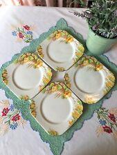 ~Delightful 4 x Vintage Art Deco Side Plates~TAYLOR & KENT~Hand Finished Petals~
