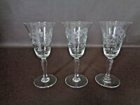Set Of Three Vintage Etched Floral Cordial Glasses (Cat.#9T012)