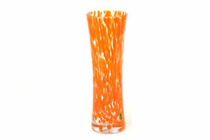 Murano Glass Bud Vase, Orange, Contemporary, Made in Italy