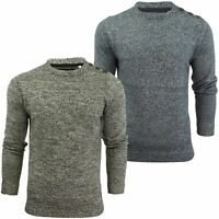 Mens Crew Neck Jumper With Button Detail by Brave Soul