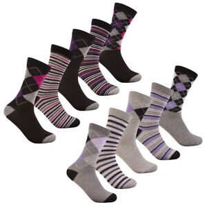Ladies Women's Cotton Rich Patterned 5-10 Pairs Socks Gift Box Set Multipack New