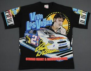 Vintage 90's Rusty Wallace Elvis Las Vegas All Over NASCAR T-Shirt XL Chase USA