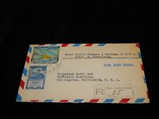 Vintage Postal Cover,DOMINICAN REPUBLIC,Registered To Hollywood,CA, TV Institute