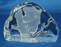 Bohemian Lead Crystal Art Glass Koala Bears Slab Paperweight Bohemia Czech