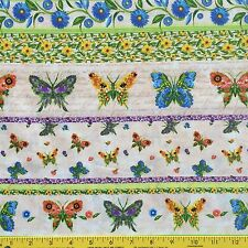 BUTTERFLY COLLAGE cotton fabric for sewing quilting BUTTERFLIES FLOWERS STRIPES