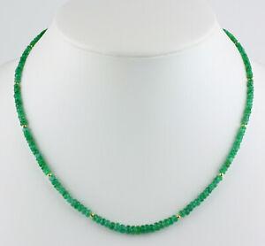 Classy Emerald Necklace Precious Stone Brazil Facetted Rondelle Green 18 1/8in