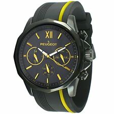 Peugeot 2046BOR Mens Chronograph Sport Watch W/ Silicon Band Multi Dial-Yellow