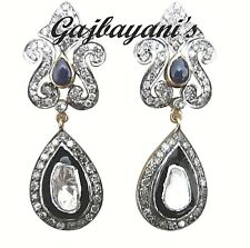 MESMERIZING ROSE CUT DIAMOND & BLUE SAPPHIRE VINTAGE STYLE GOLD SILVER EARRING