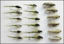 Olive Nymph Fishing Flies, 18 Pack, Olive Damsel, Czech & Ribbed, Mixed 10/12/14