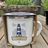 Maritim Schiff Ahoi Leuchtturm Anker Emaille Tasse 370ml Metall Kaffeebecher