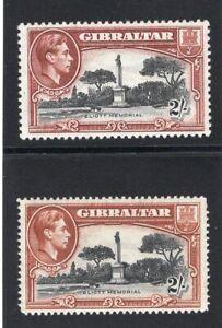1939-51 Gibraltar. SC#115-115a. SG#128,128b. Mint, Never/Lightly Hinged, VF.