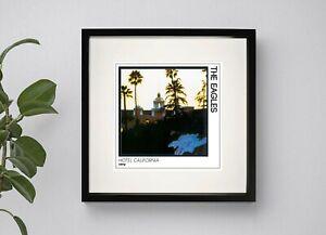 EAGLES - HOTEL CALIFORNIA BOX FRAMED PRINT ARTWORK 3 Sizes Black or White