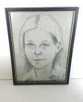 Vintage Woman Drawing Famed Art Sketch Signed Original Pencil 13×17