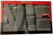 PIERRE CARDIN LUXURY 4 PIECE BATHROBE TOWEL SET GREY JACQUARD SILVER 100% COTTON