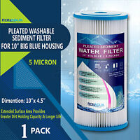 Big Blue Pleated Sediment Water Filter  Washable 5 Micron Cartridges 4.5 x 10