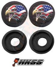 2 Black Custom License Plate Frame Tag Screw Cap Covers - USA FLAG EAGLE B ICE