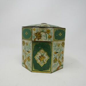 Vintage Asian Floral Tin made in England Decorative/Cookie/Candy Tin Octagon