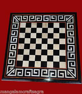 "24"" Black Marble Chess Table Stone Handicraft Inlay Pietra dura Work"