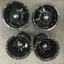 FOUR ITP SS112 Rims Yamaha Banshee 350 Warrior Set of 4 Matte Black Front/Rear