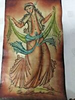 Antique Original Painting On leather Mythical Women Dancing