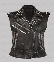 Women's Punk Rock Black Silver Studded Brando Unique Classic Biker Leather Vest