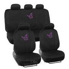 Car Seat Covers Purple Butterfly Design Universal Fit Full Set W/ Auto Accessory