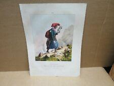 PYRENEES ancienne gravure couleur Paysanne du village de Grip fileuse  Tourmalet
