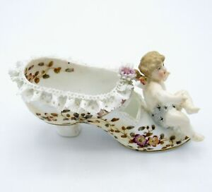 Antique AMAZING Detailed Shoe with Cherub, Lace, Hand Painted, Beautiful!!! NR
