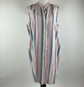 Cloth & Stone Anthropologie Women Button Striped Hi Low Shirt Dress sz L