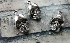 Skull Charms Pendants Skeleton Charms Halloween Charms Antiqued Silver 12pcs