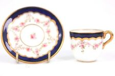 Antique Coalport Miniature Tea Cup and Saucer Cobalt Blue Rim Pinks Roses 1900