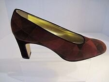ESCADA Multi Brown Leather Design Heels, Pumps Size 9.5 B Italy, NEW !
